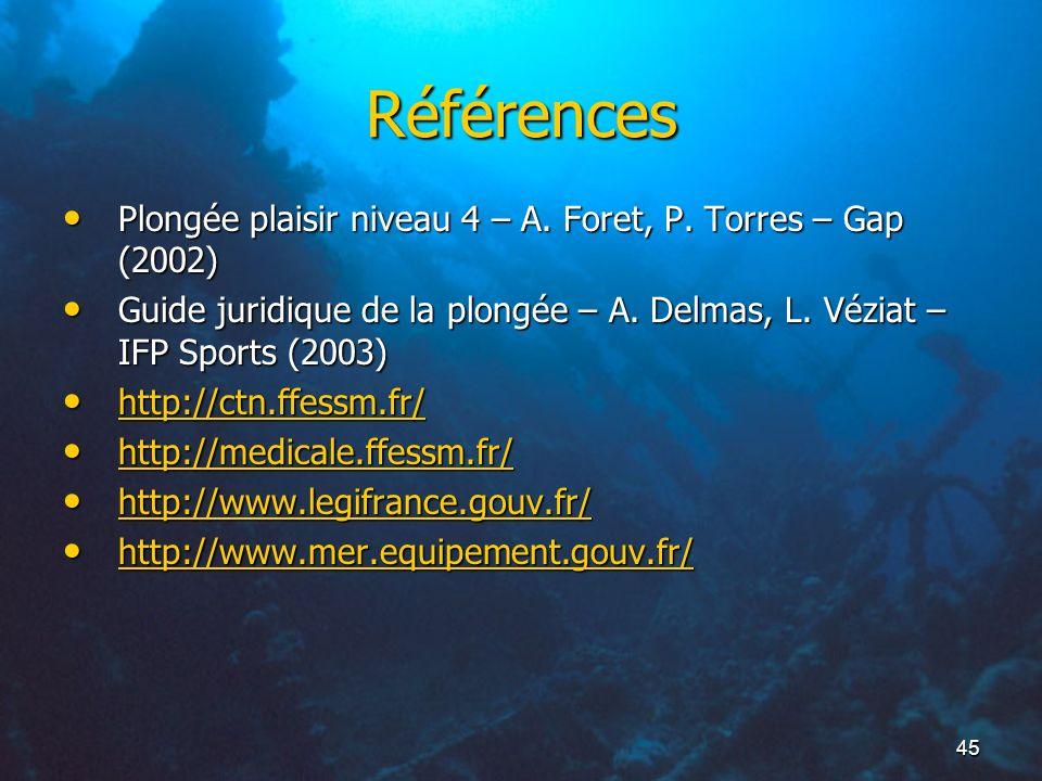 45 Références Plongée plaisir niveau 4 – A. Foret, P. Torres – Gap (2002) Plongée plaisir niveau 4 – A. Foret, P. Torres – Gap (2002) Guide juridique