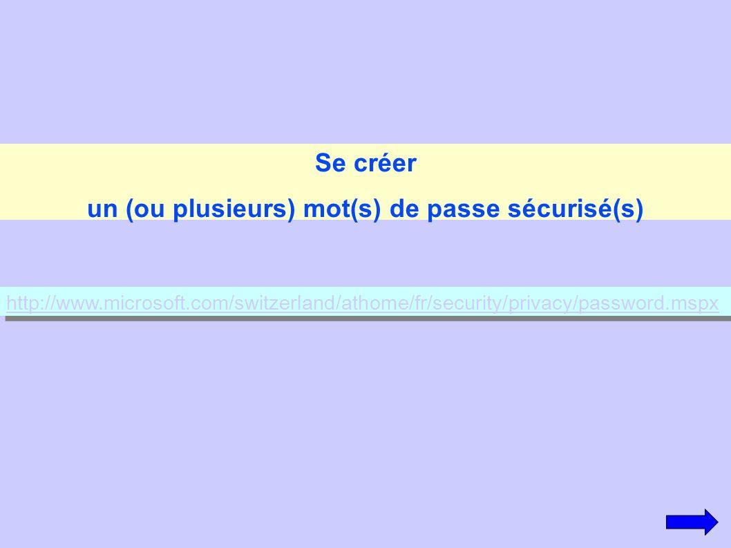 Se créer un (ou plusieurs) mot(s) de passe sécurisé(s) http://www.microsoft.com/switzerland/athome/fr/security/privacy/password.mspx