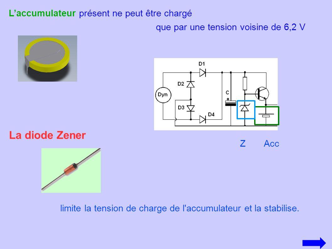 La diode Zener limite la tension de charge de l'accumulateur et la stabilise. Laccumulateur présent ne peut être chargé que par une tension voisine de