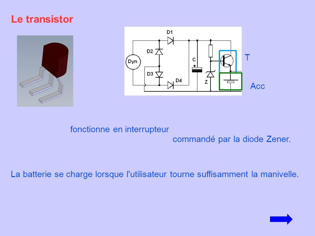 fonctionne en interrupteur commandé par la diode Zener. Le transistor La batterie se charge lorsque l'utilisateur tourne suffisamment la manivelle. T