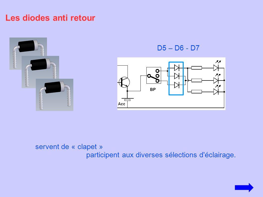 Les diodes anti retour servent de « clapet » participent aux diverses sélections d'éclairage. D5 – D6 - D7