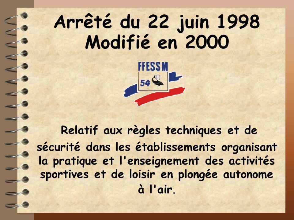Arrêté du 22 juin 1998 Modifié en 2000 Relatif aux règles techniques et de sécurité dans les établissements organisant la pratique et l'enseignement d