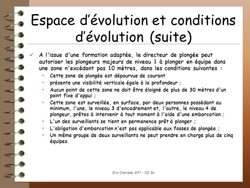Espace dévolution et conditions dévolution (suite) A l'issue d'une formation adaptée, le directeur de plongée peut autoriser les plongeurs majeurs de