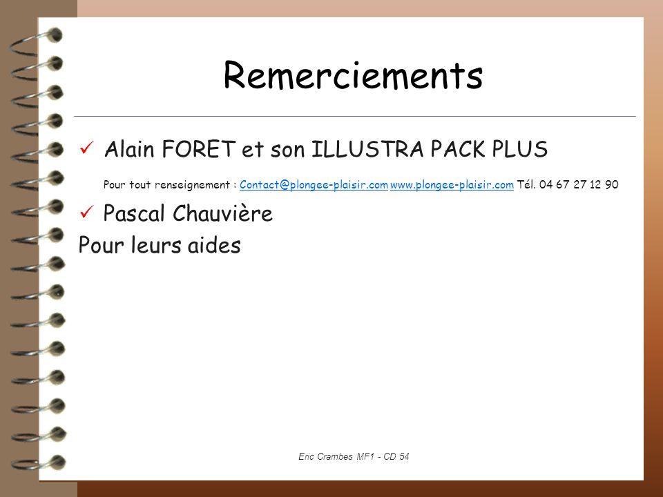 Remerciements Alain FORET et son ILLUSTRA PACK PLUS Pour tout renseignement : Contact@plongee-plaisir.com www.plongee-plaisir.com Tél. 04 67 27 12 90C
