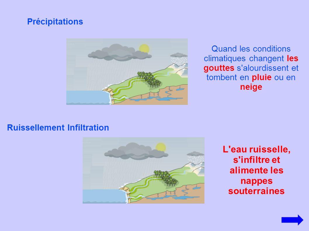 Précipitations Ruissellement Infiltration Quand les conditions climatiques changent les gouttes s'alourdissent et tombent en pluie ou en neige L'eau r