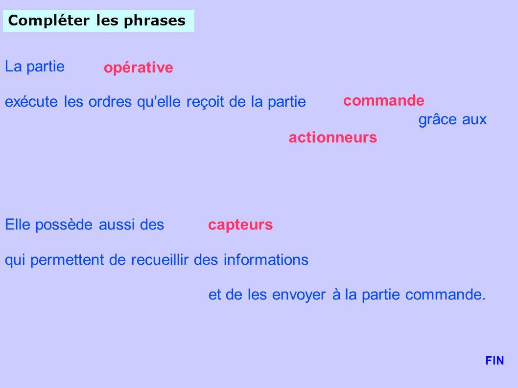 Compléter les phrases Elle possède aussi des qui permettent de recueillir des informations et de les envoyer à la partie commande. La partie exécute l