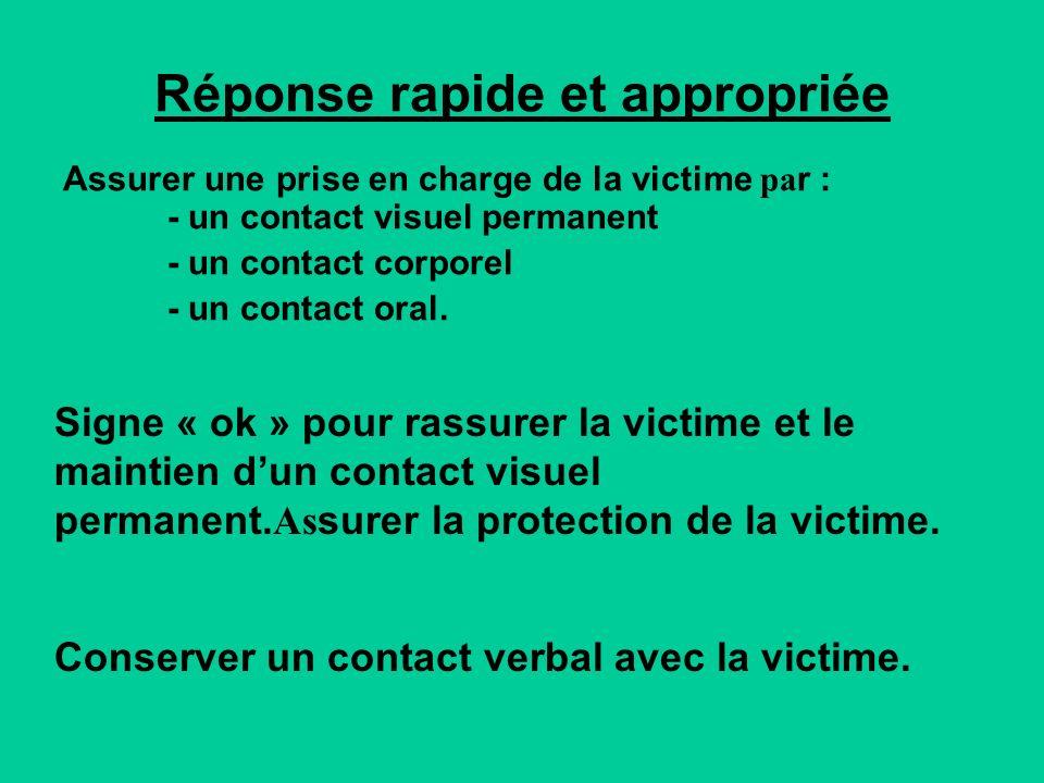 Réponse rapide et appropriée Assurer une prise en charge de la victime pa r : - un contact visuel permanent - un contact corporel - un contact oral.