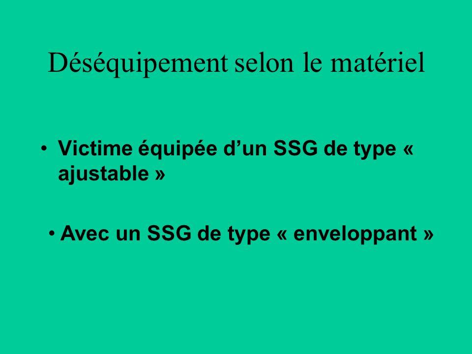 Déséquipement selon le matériel Victime équipée dun SSG de type « ajustable » Avec un SSG de type « enveloppant »