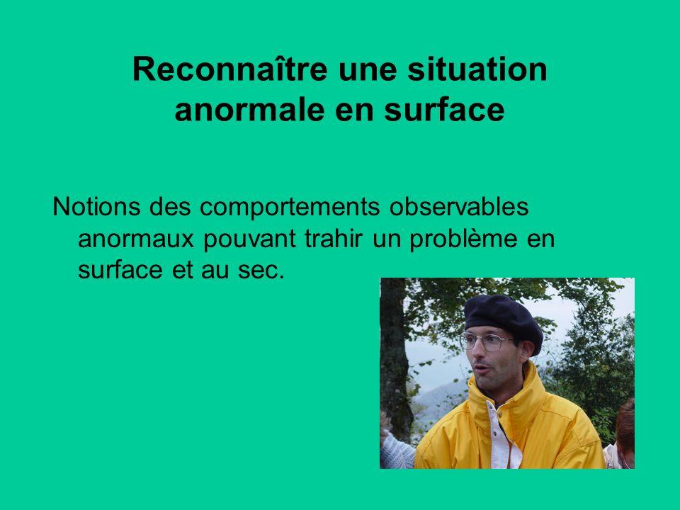 Notions des comportements observables anormaux pouvant trahir un problème en surface et au sec.