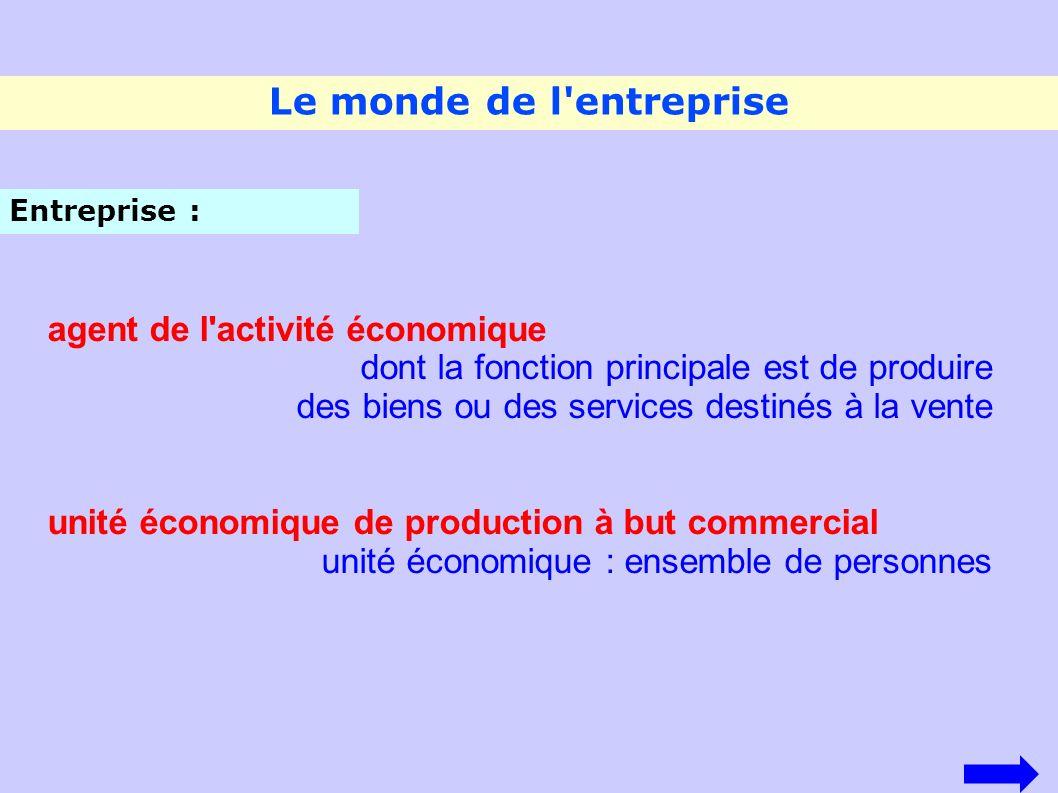Le monde de l'entreprise agent de l'activité économique dont la fonction principale est de produire des biens ou des services destinés à la vente unit