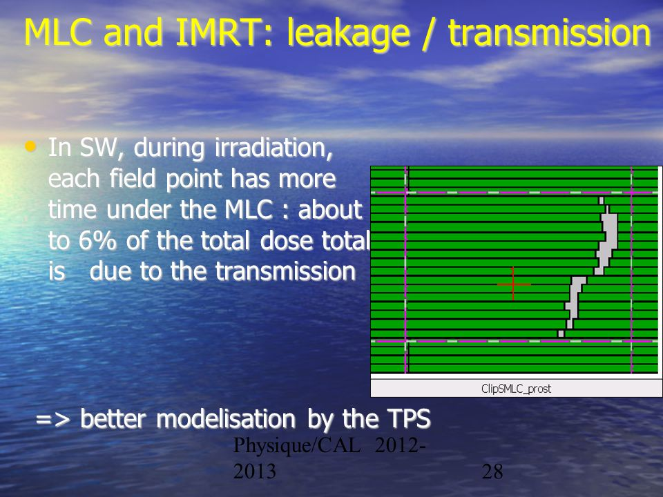 Physique/CAL 2012- 201328 MLC and IMRT: leakage / transmission In SW, during irradiation, each field point has more time under the MLC : about 4 to 6%