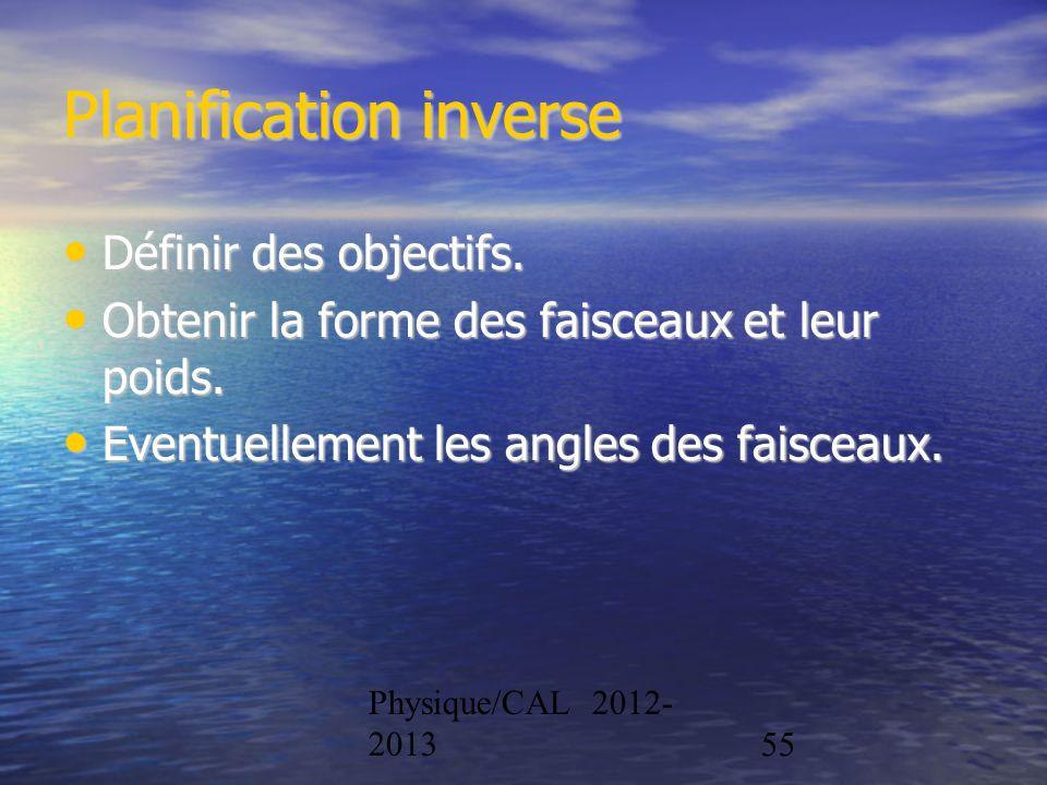 Physique/CAL 2012- 201355 Planification inverse Définir des objectifs. Définir des objectifs. Obtenir la forme des faisceaux et leur poids. Obtenir la
