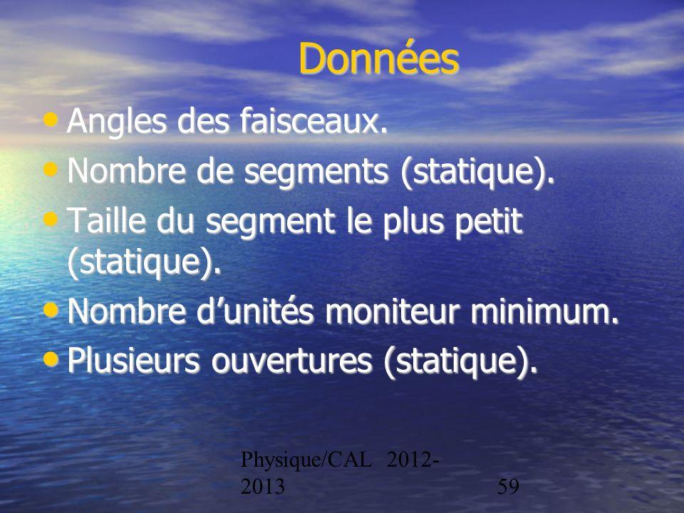 Physique/CAL 2012- 201359 Données Angles des faisceaux. Angles des faisceaux. Nombre de segments (statique). Nombre de segments (statique). Taille du