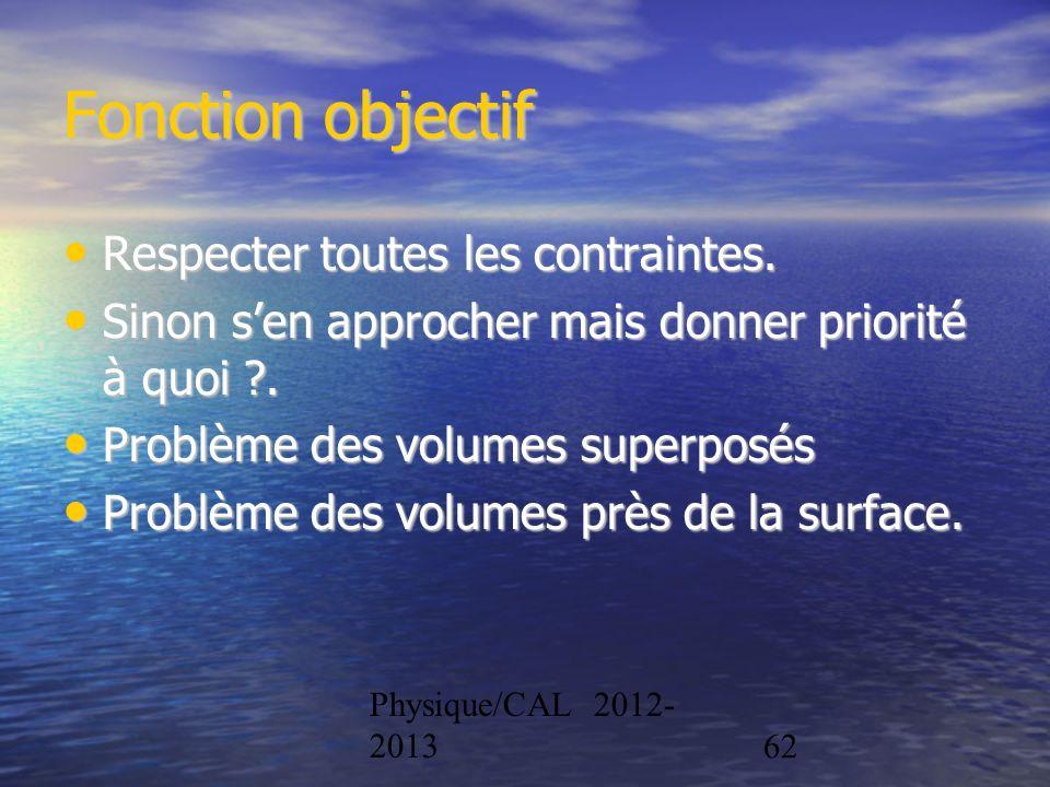 Physique/CAL 2012- 201362 Fonction objectif Respecter toutes les contraintes. Respecter toutes les contraintes. Sinon sen approcher mais donner priori