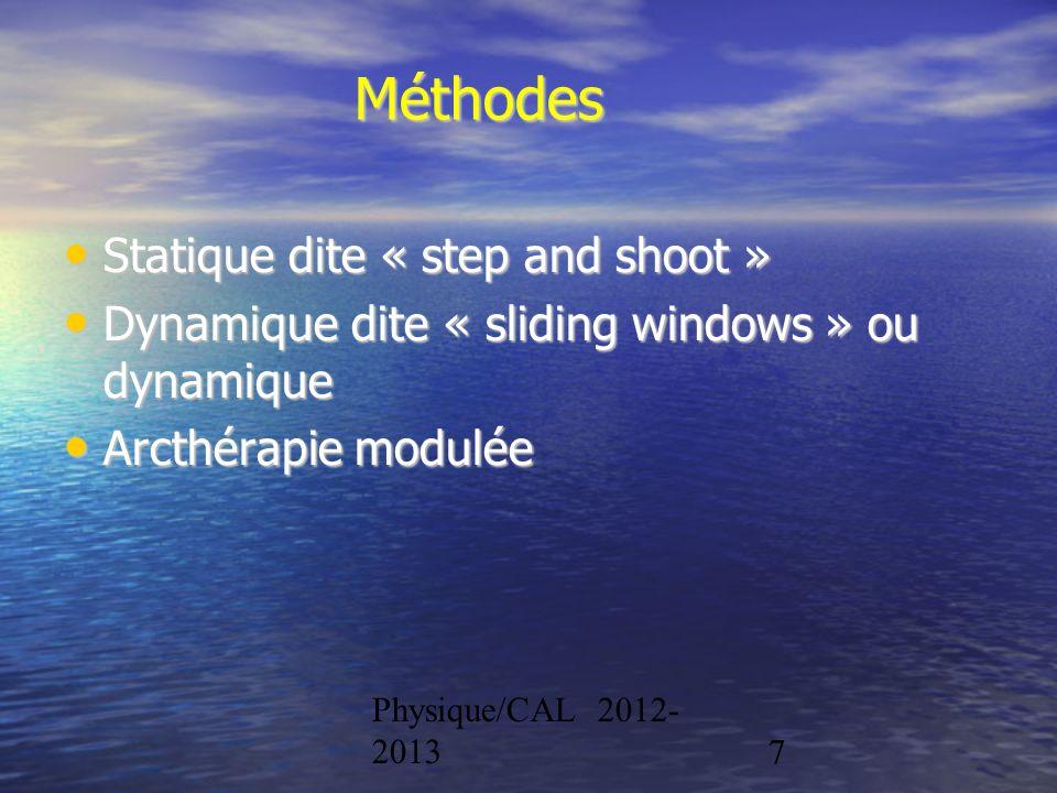 Physique/CAL 2012- 20137 Méthodes Statique dite « step and shoot » Statique dite « step and shoot » Dynamique dite « sliding windows » ou dynamique Dy