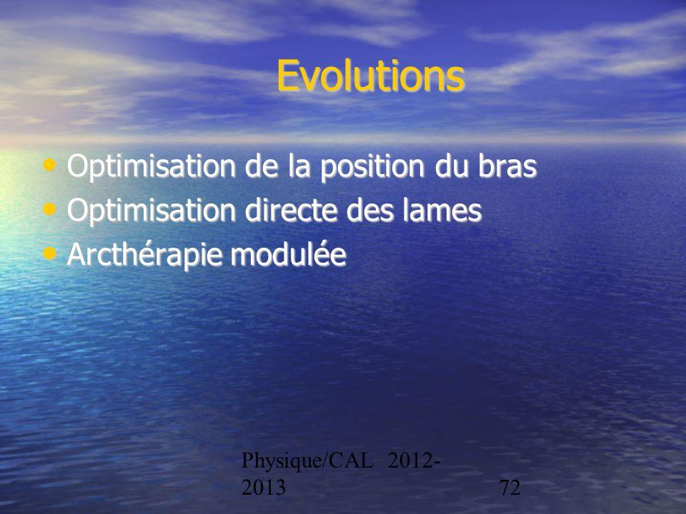 Physique/CAL 2012- 201372 Evolutions Optimisation de la position du bras Optimisation de la position du bras Optimisation directe des lames Optimisati
