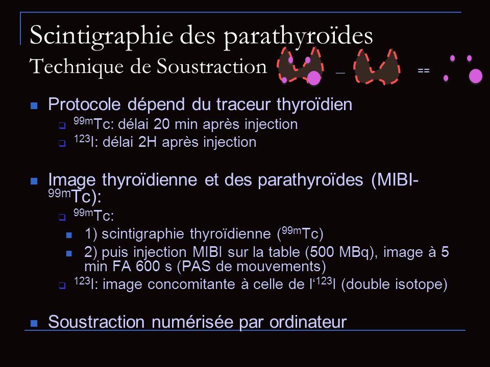 Scintigraphie des parathyroïdes Technique de Soustraction Protocole dépend du traceur thyroïdien 99m Tc: délai 20 min après injection 123 I: délai 2H