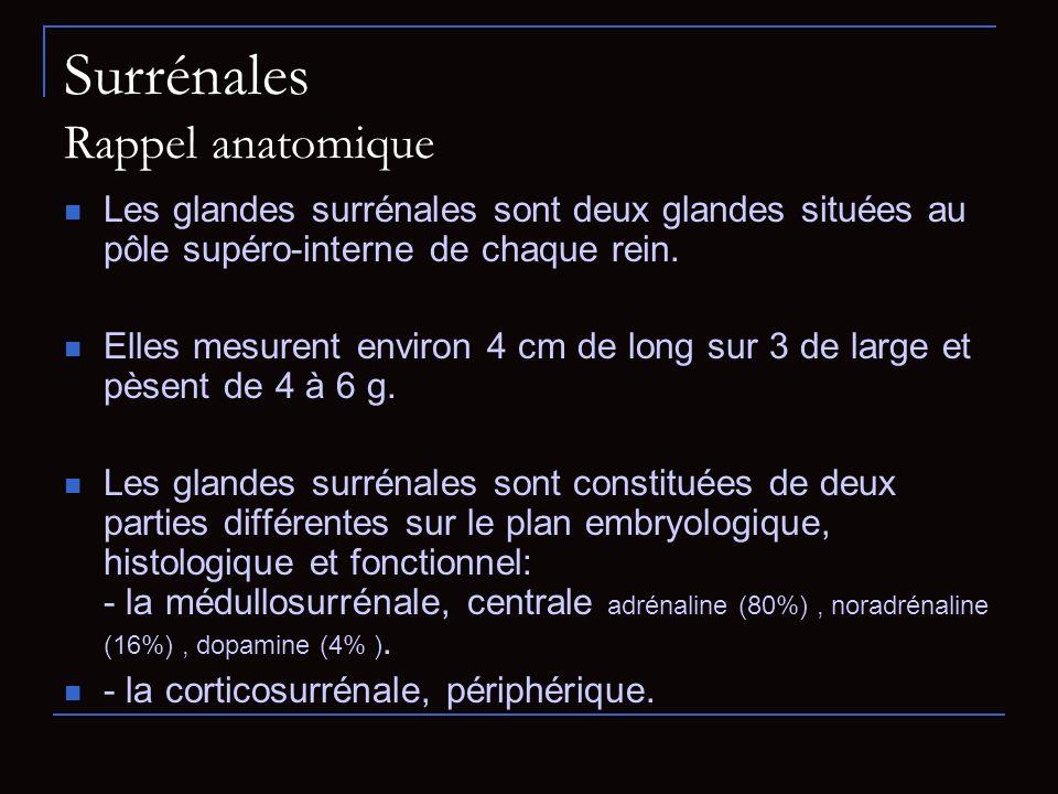 Surrénales Rappel anatomique Les glandes surrénales sont deux glandes situées au pôle supéro-interne de chaque rein. Elles mesurent environ 4 cm de lo
