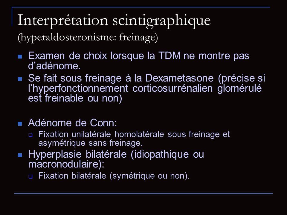Interprétation scintigraphique (hyperaldosteronisme: freinage) Examen de choix lorsque la TDM ne montre pas dadénome. Se fait sous freinage à la Dexam