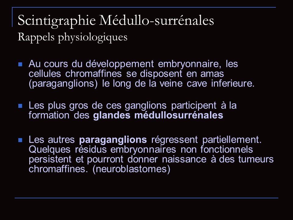 Scintigraphie Médullo-surrénales Rappels physiologiques Au cours du développement embryonnaire, les cellules chromaffines se disposent en amas (paraga