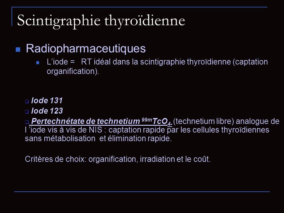 Scintigraphie des parathyroïdes Indication : hyperparathyroïdie primaire, parfois secondaire adénomes parathyroïdiens hyperplasie des 4 glandes Traceur MIBI- 99m Tc : Fixation du tissu thyroïdien et parathyroïdien (collimateur pinhole ou // ) : Soustraction + tomographie Image à 2H Image grand champ cervico-médiastinale (ectopie) Tomoscintigraphie (TEMP ou SPECT) +/- scanner Matrice 128*128 / Zoom 1 60 projections (6°) sur 180° / 20 s/pas.