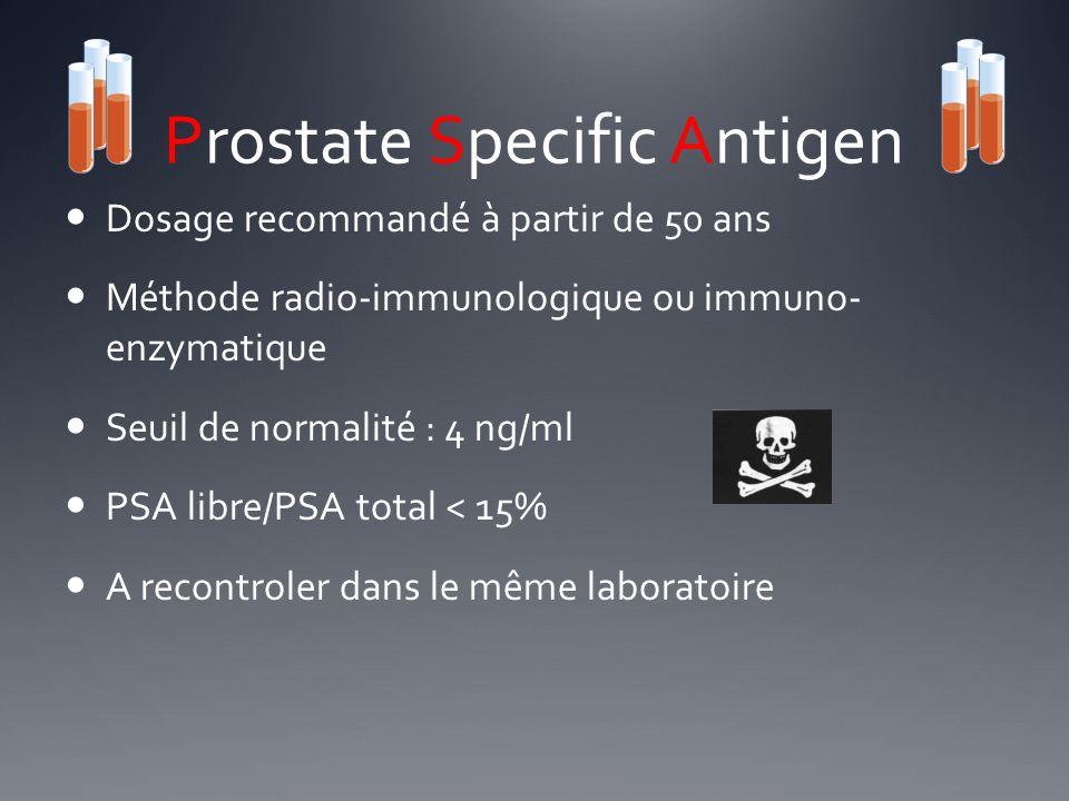 Prostate Specific Antigen Dosage recommandé à partir de 50 ans Méthode radio-immunologique ou immuno- enzymatique Seuil de normalité : 4 ng/ml PSA lib