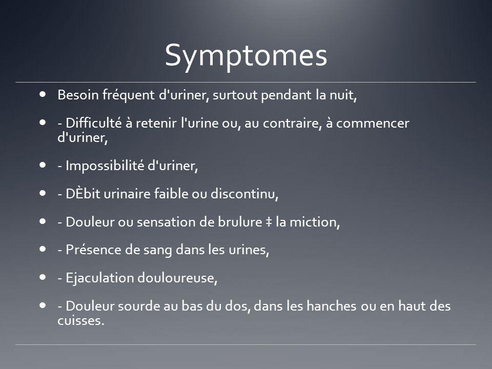 Symptomes Besoin fréquent d'uriner, surtout pendant la nuit, - Difficulté à retenir l'urine ou, au contraire, à commencer d'uriner, - Impossibilité d'
