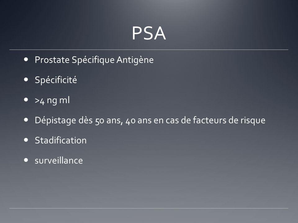PSA Prostate Spécifique Antigène Spécificité >4 ng ml Dépistage dès 50 ans, 40 ans en cas de facteurs de risque Stadification surveillance