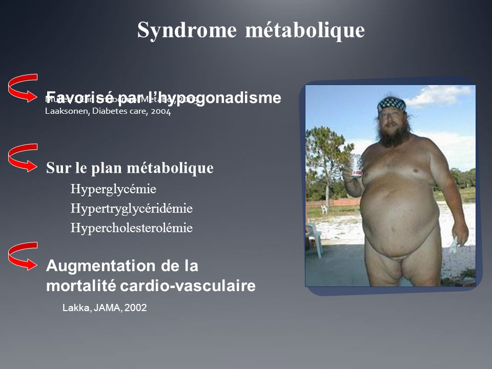 Muller, J Clin Endocrinol Metabol, 2003 Laaksonen, Diabetes care, 2004 Favorisé par lhypogonadisme Lakka, JAMA, 2002 Augmentation de la mortalité card