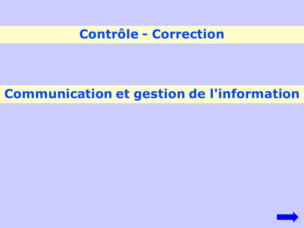 Communication et gestion de l'information Contrôle - Correction
