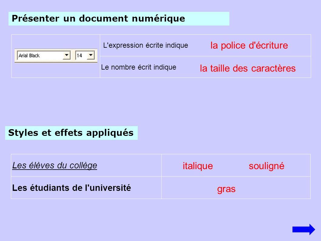 L'expression écrite indique Le nombre écrit indique la police d'écriture Présenter un document numérique la taille des caractères Styles et effets app