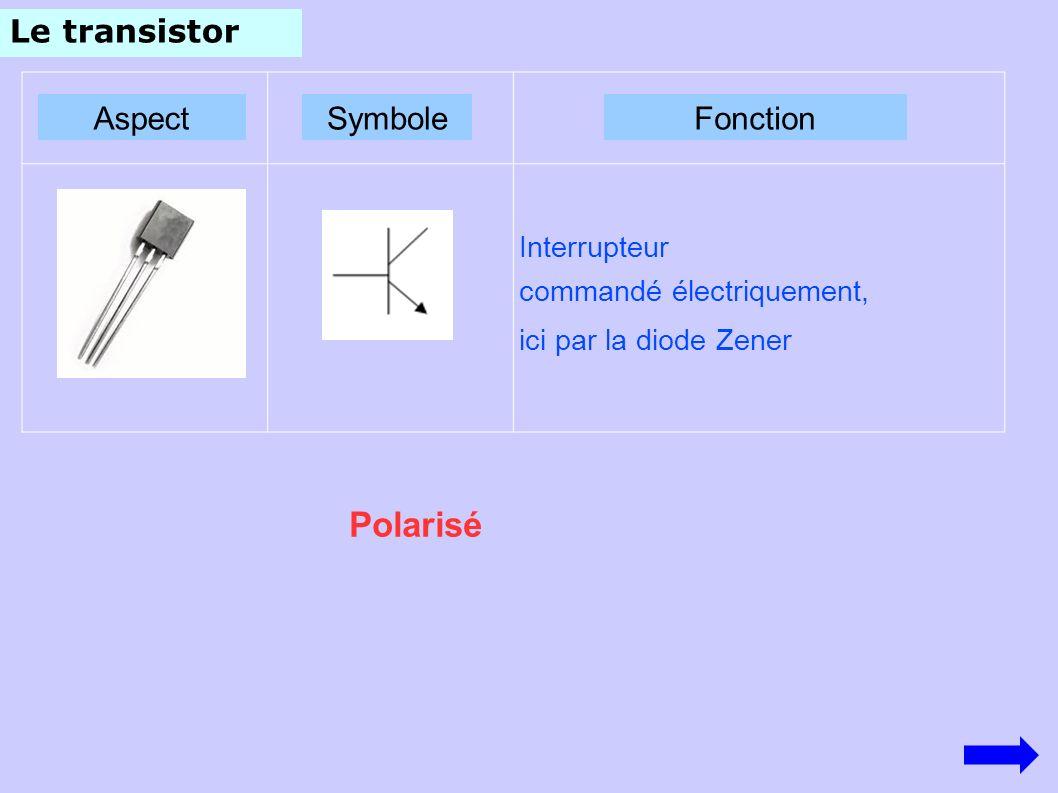 Le transistor AspectSymboleFonction Polarisé Interrupteur commandé électriquement, ici par la diode Zener