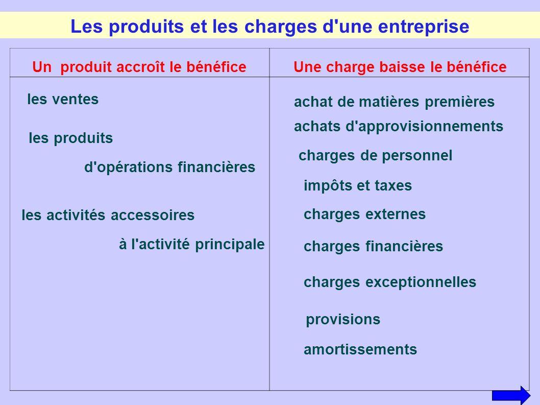Les produits et les charges d'une entreprise achat de matières premières achats d'approvisionnements charges de personnel impôts et taxes charges exte