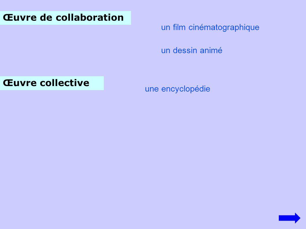 Œuvre de collaboration un film cinématographique un dessin animé Œuvre collective une encyclopédie