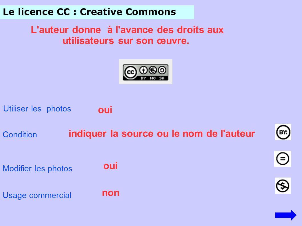 Le licence CC : Creative Commons L'auteur donne à l'avance des droits aux utilisateurs sur son œuvre. Utiliser les photos Condition indiquer la source