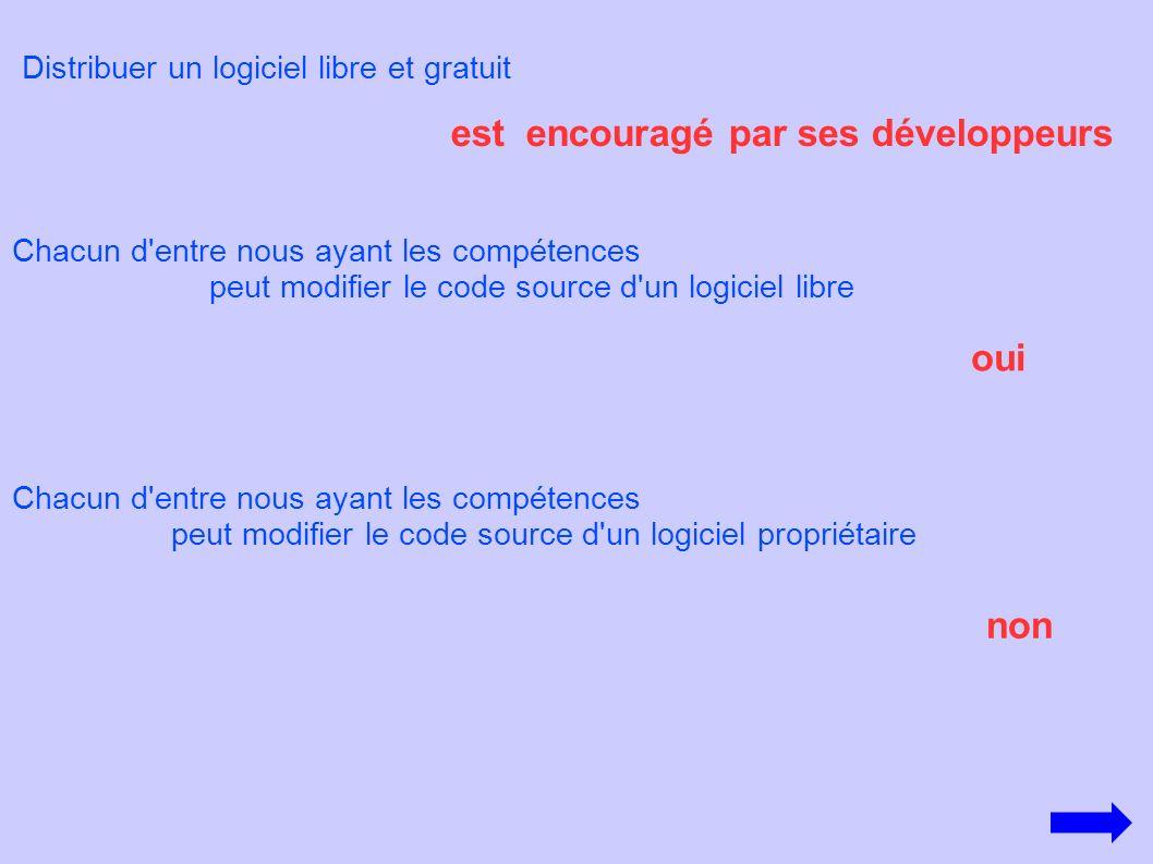Distribuer un logiciel libre et gratuit est encouragé par ses développeurs Chacun d'entre nous ayant les compétences peut modifier le code source d'un