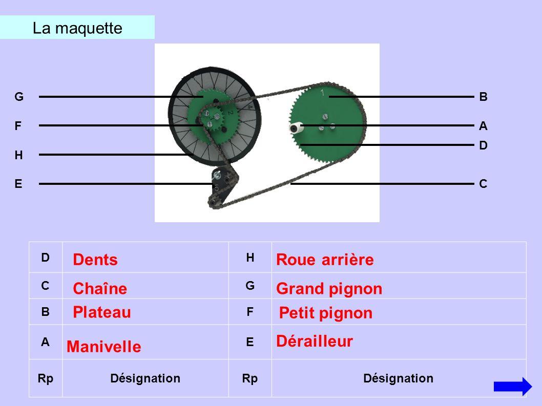 DH CG BF AE RpDésignationRpDésignation La maquette Manivelle Plateau Chaîne Dents Grand pignon Roue arrière Dérailleur Petit pignon F G C D B A E H