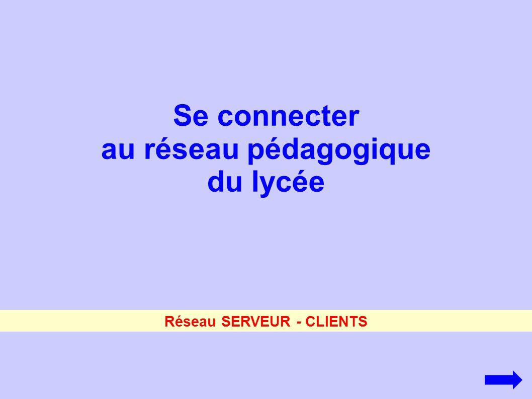 Se connecter au réseau pédagogique du lycée Réseau SERVEUR - CLIENTS