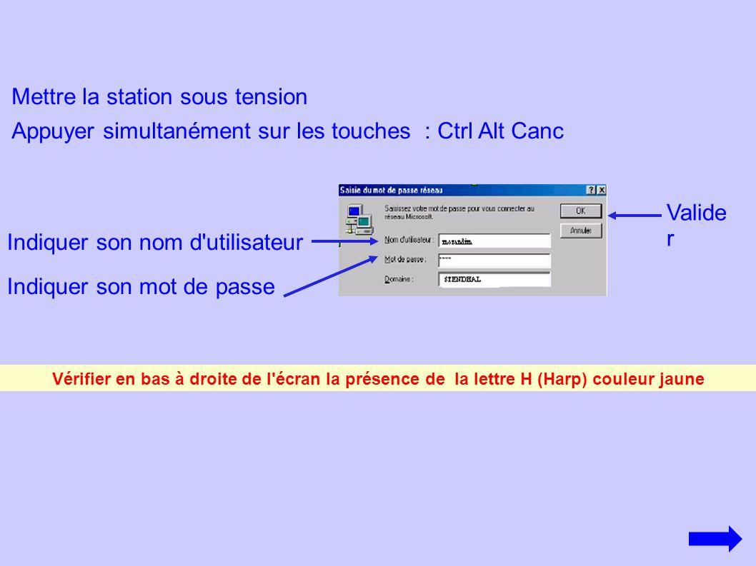 Mettre la station sous tension Appuyer simultanément sur les touches : Ctrl Alt Canc Indiquer son nom d'utilisateur Indiquer son mot de passe Vérifier