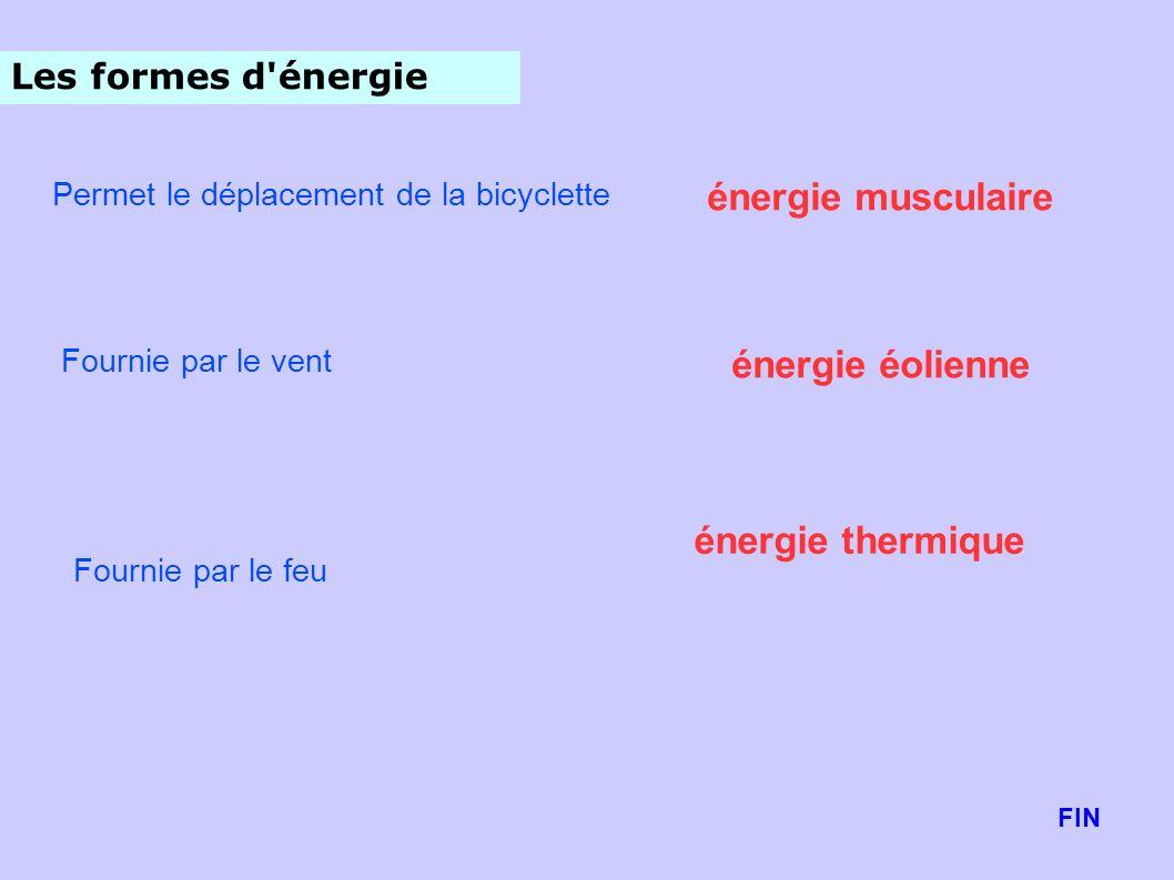 Les formes d'énergie Permet le déplacement de la bicyclette Fournie par le vent Fournie par le feu énergie musculaire énergie éolienne énergie thermiq
