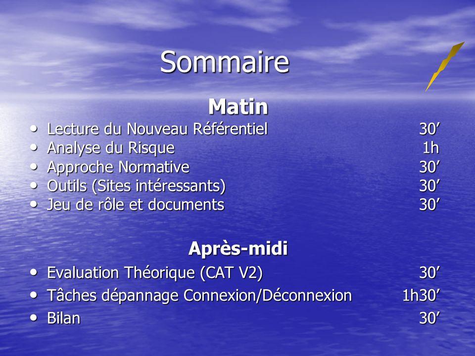 Sommaire Matin Lecture du Nouveau Référentiel 30 Lecture du Nouveau Référentiel 30 Analyse du Risque 1h Analyse du Risque 1h Approche Normative 30 App
