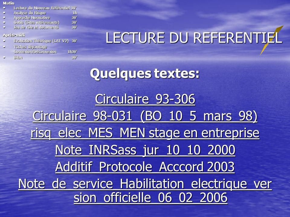 LECTURE DU REFERENTIEL Quelques textes: Circulaire_93-306 Circulaire_98-031 (BO_10_5_mars_98) Circulaire_98-031 (BO_10_5_mars_98) risq_elec_MES_MEN st