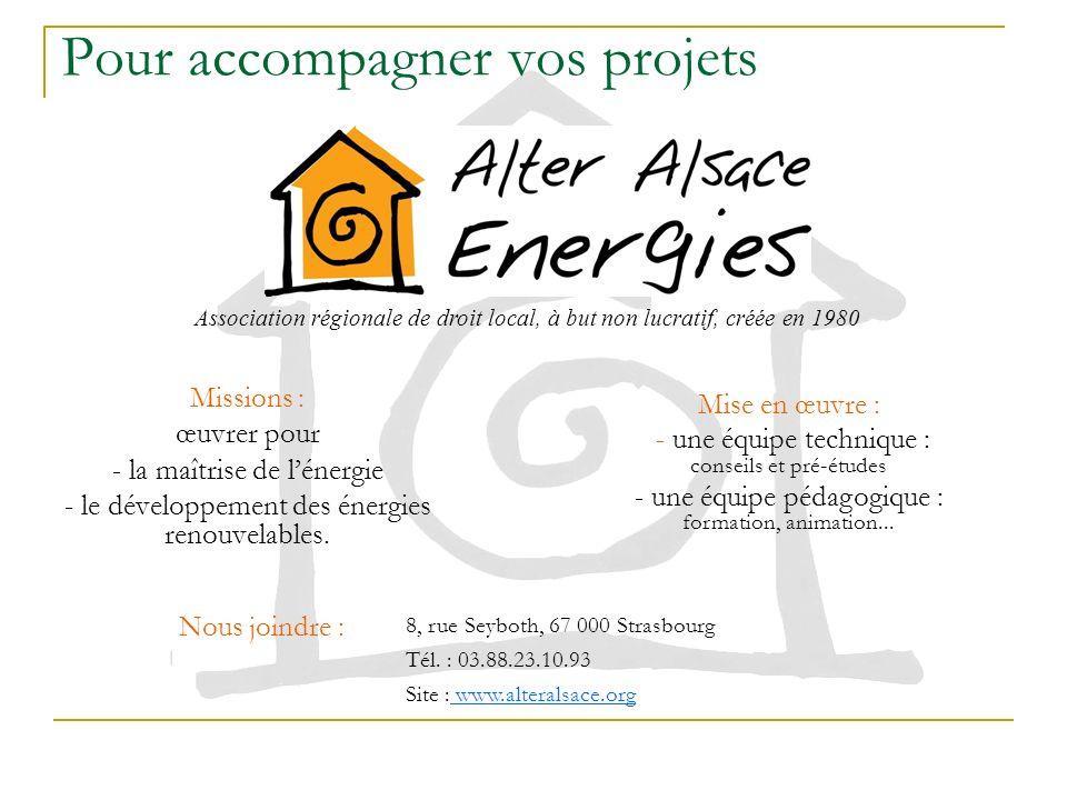 Missions : œuvrer pour - la maîtrise de lénergie - le développement des énergies renouvelables. Association régionale de droit local, à but non lucrat