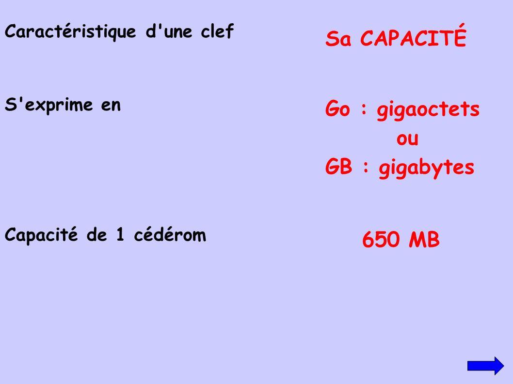 Caractéristique d'une clef Sa CAPACITÉ S'exprime en Go : gigaoctets ou GB : gigabytes Capacité de 1 cédérom 650 MB