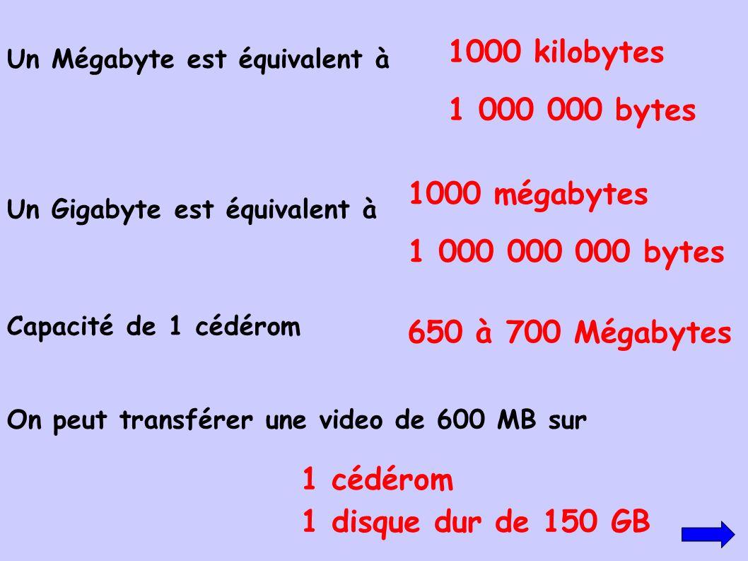 Un Mégabyte est équivalent à On peut transférer une video de 600 MB sur Capacité de 1 cédérom 1 cédérom 1 disque dur de 150 GB 1000 kilobytes 1 000 00
