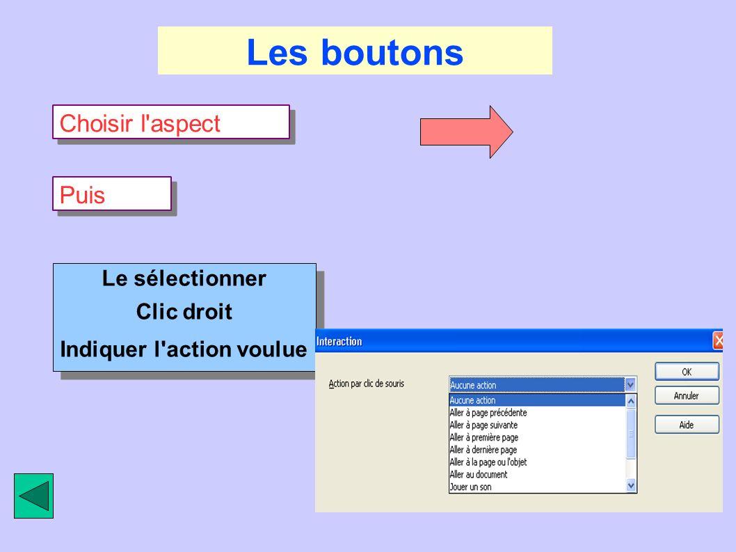 Les boutons Choisir l'aspect Puis Le sélectionner Clic droit Indiquer l'action voulue Le sélectionner Clic droit Indiquer l'action voulue