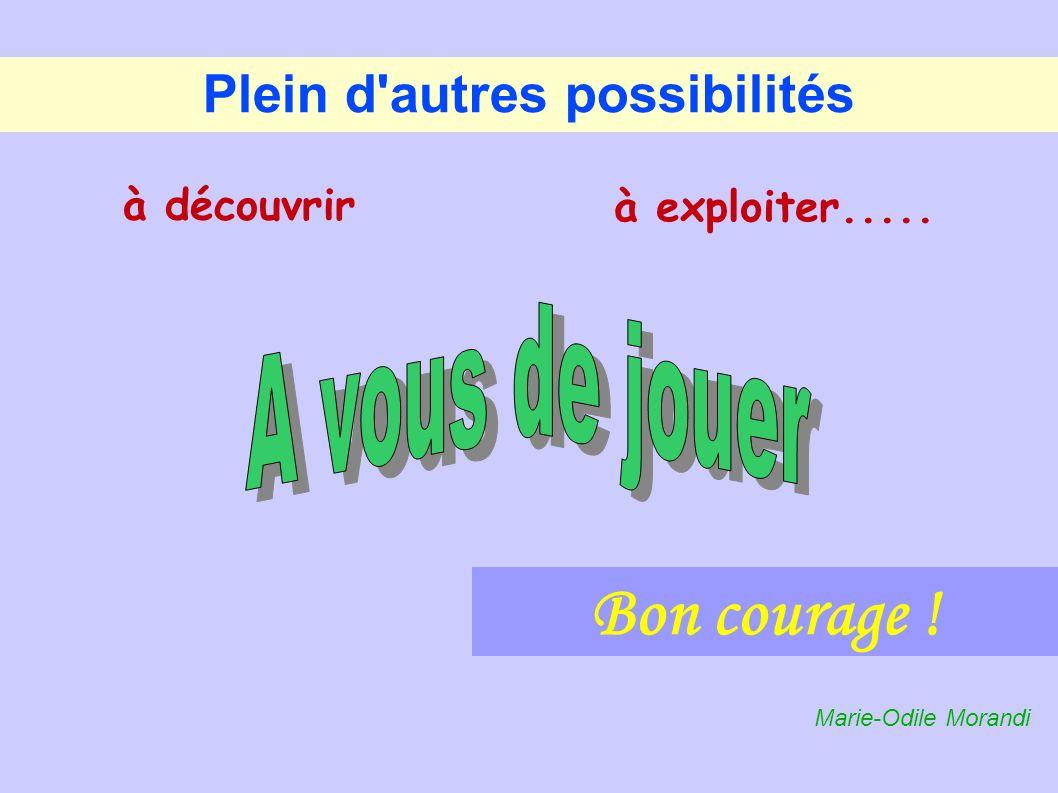 Plein d'autres possibilités à exploiter..... Bon courage ! à découvrir Marie-Odile Morandi