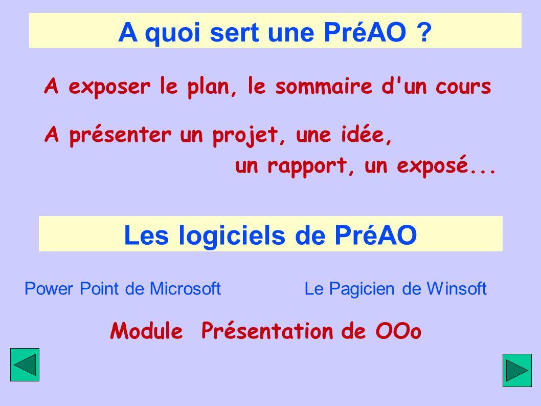 A quoi sert une PréAO ? A exposer le plan, le sommaire d'un cours A présenter un projet, une idée, un rapport, un exposé... Les logiciels de PréAO Pow