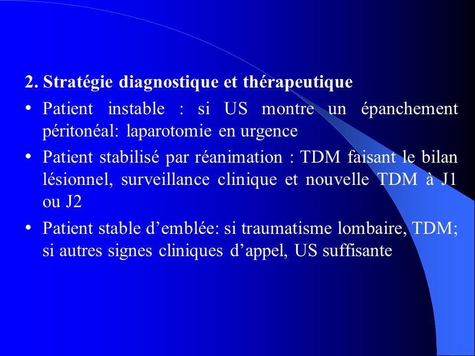 2. Stratégie diagnostique et thérapeutique Patient instable : si US montre un épanchement péritonéal: laparotomie en urgence Patient stabilisé par réa