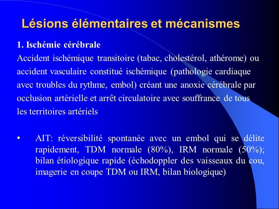 AVCI: débit sanguin cérébral (DSC) en ml/mn/100g de cerveau) inférieur à 15ml/mn (ischémie: nécrose cellulaire irréversible), entre 15 et 20 ml/mn (hypoperfusion avec risque dinfarcissement secondaire, réversible)
